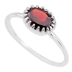 1.98cts solitaire natural red garnet 925 sterling silver ring size 7 t8983