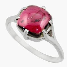 4.88cts solitaire natural red garnet 925 sterling silver ring size 8 r41926