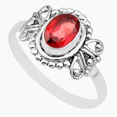 1.61cts solitaire natural red garnet 925 sterling silver ring size 8 r87269