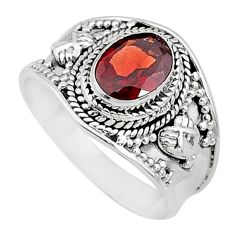 2.14cts solitaire natural red garnet 925 sterling silver ring size 8 t10137