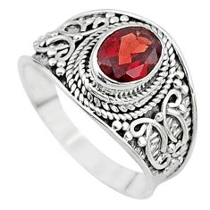 2.14cts solitaire natural red garnet 925 sterling silver ring size 8 t10138