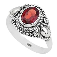 1.97cts solitaire natural red garnet 925 sterling silver ring size 8 t1418