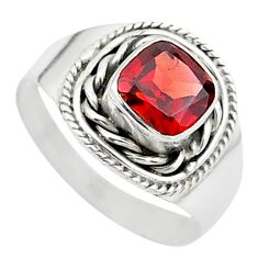 2.53cts solitaire natural red garnet 925 sterling silver ring size 8 t23156