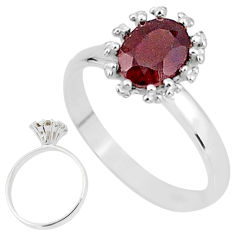 2.41cts solitaire natural red garnet 925 sterling silver ring size 8 t7202