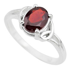 2.11cts solitaire natural red garnet 925 sterling silver ring size 8 t7959