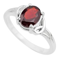 1.88cts solitaire natural red garnet 925 sterling silver ring size 8 t7960