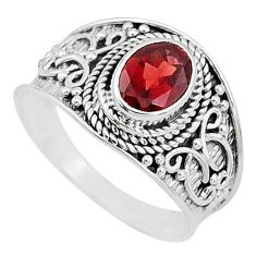 2.21cts solitaire natural red garnet 925 sterling silver ring size 9 t10140