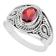 2.14cts solitaire natural red garnet 925 sterling silver ring size 9 t10146