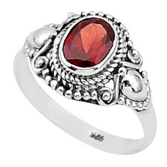 2.17cts solitaire natural red garnet 925 sterling silver ring size 9 t1417