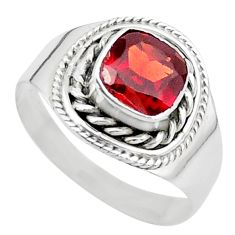 2.53cts solitaire natural red garnet 925 sterling silver ring size 9 t23152