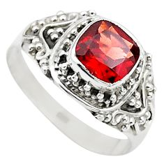 2.67cts solitaire natural red garnet 925 sterling silver ring size 9 t23158