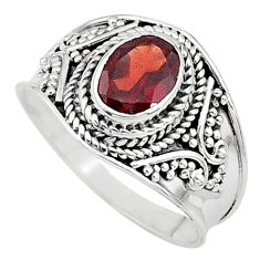 2.20cts solitaire natural red garnet 925 sterling silver ring size 8.5 t10134
