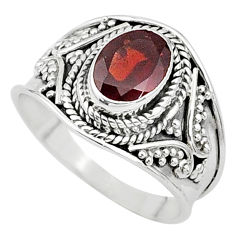 1.99cts solitaire natural red garnet 925 sterling silver ring size 7.5 t10135