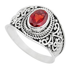 2.18cts solitaire natural red garnet 925 sterling silver ring size 8.5 t10142