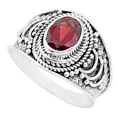 2.05cts solitaire natural red garnet 925 sterling silver ring size 7.5 t10151