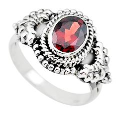 2.14cts solitaire natural red garnet 925 sterling silver ring size 7.5 t19876