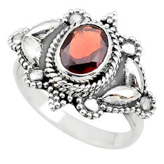 2.08cts solitaire natural red garnet 925 sterling silver ring size 6.5 t19884
