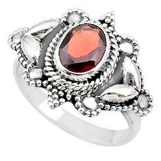 1.98cts solitaire natural red garnet 925 sterling silver ring size 8.5 t19898