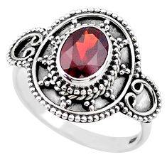 2.04cts solitaire natural red garnet 925 sterling silver ring size 8.5 t19903
