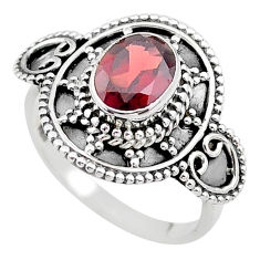 2.13cts solitaire natural red garnet 925 sterling silver ring size 8.5 t19910