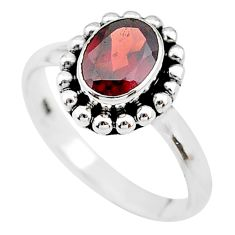 2.16cts solitaire natural red garnet 925 sterling silver ring size 7.5 t19947