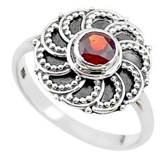 0.95cts solitaire natural red garnet 925 sterling silver ring size 8.5 t19998