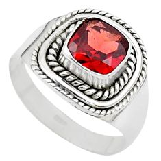 2.72cts solitaire natural red garnet 925 sterling silver ring size 7.5 t23153