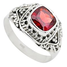 2.71cts solitaire natural red garnet 925 sterling silver ring size 8.5 t23160