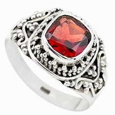2.53cts solitaire natural red garnet 925 sterling silver ring size 7.5 t23281