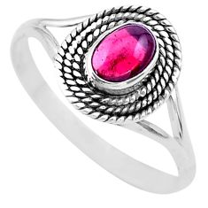1.06cts solitaire natural red garnet 925 sterling silver ring size 10.5 t26181