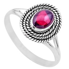 0.99cts solitaire natural red garnet 925 sterling silver ring size 8.5 t26182