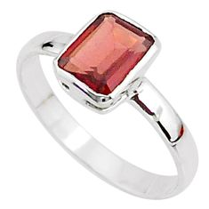 2.06cts solitaire natural red garnet 925 sterling silver ring size 6.5 t7262