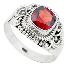 2.53cts solitaire natural red garnet cushion 925 silver ring size 7 t23290