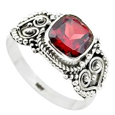 2.71cts solitaire natural red garnet cushion 925 silver ring size 8 t23283