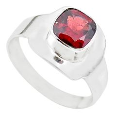 2.43cts solitaire natural red garnet cushion 925 silver ring size 8 t23289