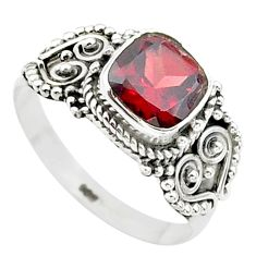 2.53cts solitaire natural red garnet cushion 925 silver ring size 9 t23287