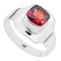 2.44cts solitaire natural red garnet cushion 925 silver ring size 7.5 t23291