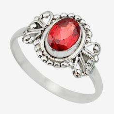 1.58cts solitaire natural red garnet oval 925 sterling silver ring size 7 r87259