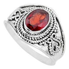 1.93cts solitaire natural red garnet oval 925 sterling silver ring size 8 t10152