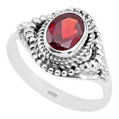 1.81cts solitaire natural red garnet oval 925 sterling silver ring size 8 t3978