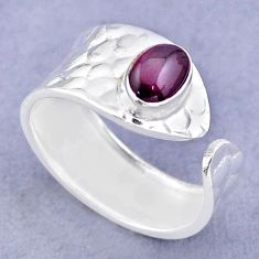 1.45cts solitaire natural red garnet oval silver adjustable ring size 8 t47331