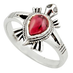 1.75cts solitaire natural red garnet pear 925 silver tortoise ring size 8 r40650