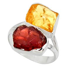 14.26cts solitaire natural red garnet rough 925 silver ring size 8.5 r49175