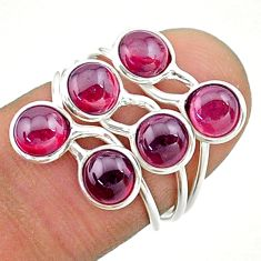 5.52cts solitaire natural red garnet round shape 925 silver ring size 6 t19206