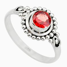 0.90cts solitaire natural red garnet round sterling silver ring size 6 r87315
