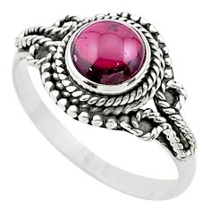 1.05cts solitaire natural red garnet round sterling silver ring size 8 t26164