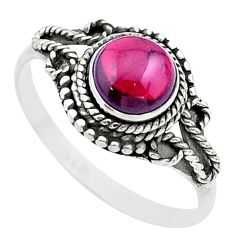 2.55cts solitaire natural red garnet round sterling silver ring size 9 t26166