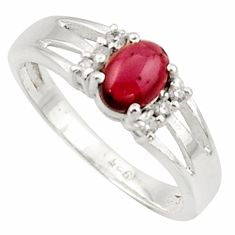2.17cts solitaire natural red garnet topaz oval 925 silver ring size 9 r40782