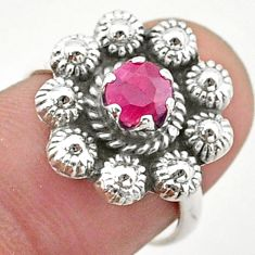 1.04cts solitaire natural red ruby 925 silver flower ring size 6.5 t40681