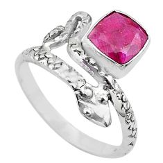2.71cts solitaire natural red ruby 925 silver snake ring size 8.5 t32016